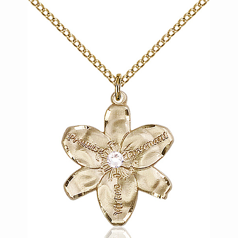 Gold Filled 7/8in Chastity Pendant with 3mm Crystal Bead & 18in Chain