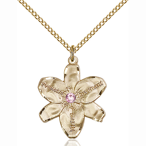 Gold Filled 7/8in Chastity Pendant with 3mm Light Amethyst Bead & 18in Chain