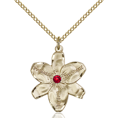Gold Filled 7/8in Chastity Pendant with 3mm Ruby Bead & 18in Chain