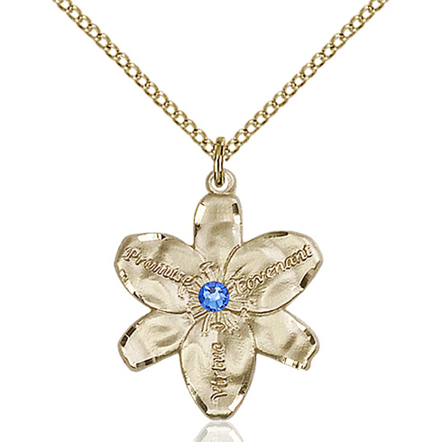 Gold Filled 7/8in Chastity Pendant with 3mm Sapphire Bead & 18in Chain