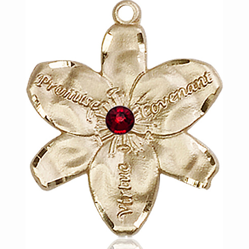 14kt Yellow Gold 7/8in Chastity Medal with 3mm Garnet Bead