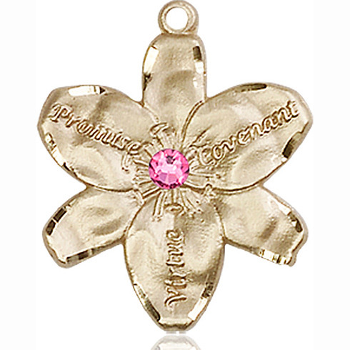 14kt Yellow Gold 7/8in Chastity Medal with 3mm Rose Bead