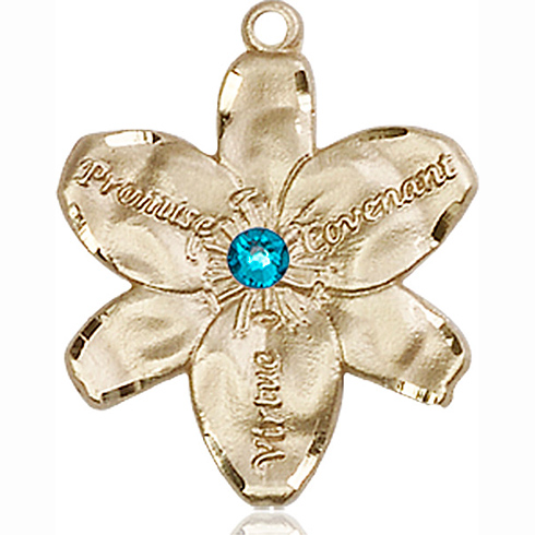 14kt Yellow Gold 7/8in Chastity Medal with 3mm Zircon Bead
