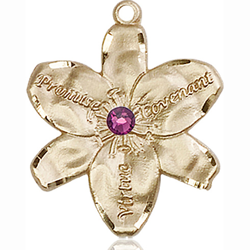 14kt Yellow Gold 7/8in Chastity Medal with 3mm Amethyst Bead