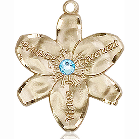 14kt Yellow Gold 7/8in Chastity Medal with 3mm Aqua Bead