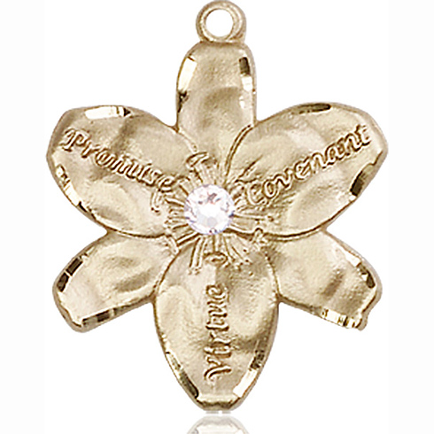 14kt Yellow Gold 7/8in Chastity Medal with 3mm Crystal Bead