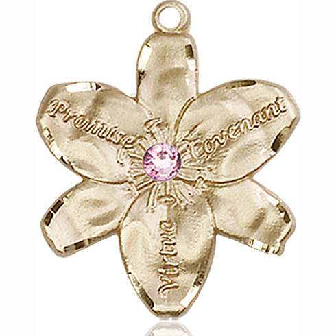 14kt Yellow Gold 7/8in Chastity Medal with 3mm Light Amethyst Bead