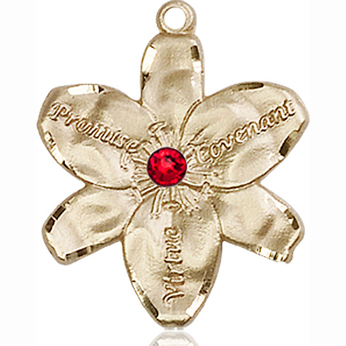 14kt Yellow Gold 7/8in Chastity Medal with 3mm Ruby Bead