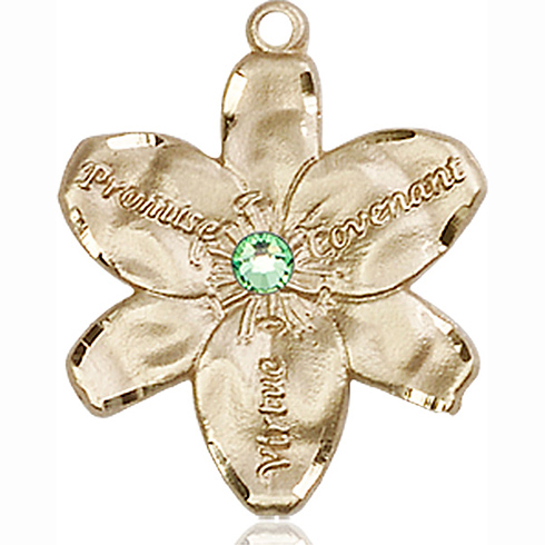 14kt Yellow Gold 7/8in Chastity Medal with 3mm Peridot Bead