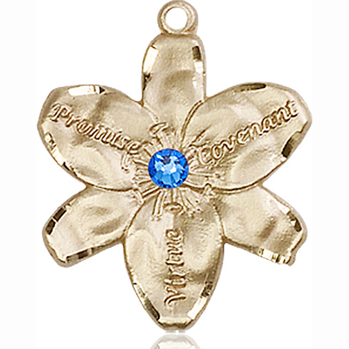14kt Yellow Gold 7/8in Chastity Medal with 3mm Sapphire Bead