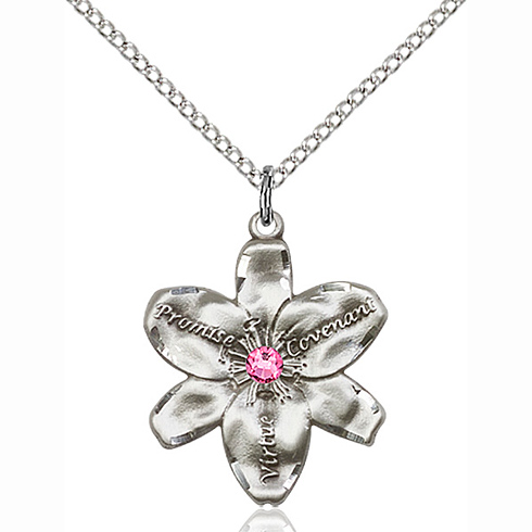 Sterling Silver 7/8in Chastity Pendant with 3mm Rose Bead & 18in Chain