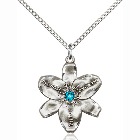 Sterling Silver 7/8in Chastity Pendant with Zircon Bead & 18in Chain
