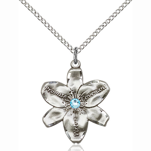 Sterling Silver 7/8in Chastity Pendant with 3mm Aqua Bead & 18in Chain