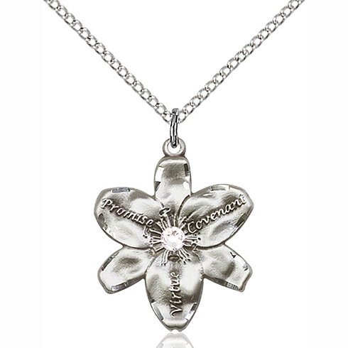 Sterling Silver 7/8in Chastity Pendant with 3mm Crystal Bead & 18in Chain
