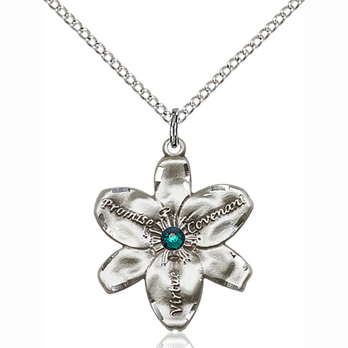 Sterling Silver 7/8in Chastity Pendant with Emerald Bead & 18in Chain