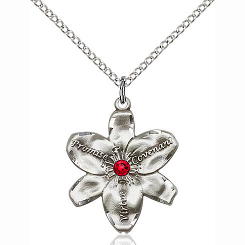 Sterling Silver 7/8in Chastity Pendant with 3mm Ruby Bead & 18in Chain