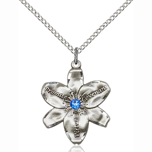 Sterling Silver 7/8in Chastity Pendant with Sapphire Bead & 18in Chain