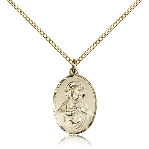 Gold Filled 3/4in Oval Plain Scapular Medal & 18in Chain