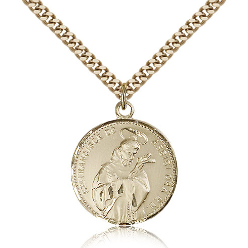 Gold Filled 7/8in St Francis Medal & 24in Chain
