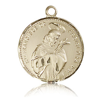 14kt Yellow Gold 7/8in St Francis Medal