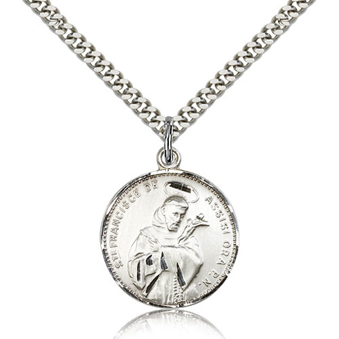 Sterling Silver 7/8in Round St Francis Medal & 24in Chain