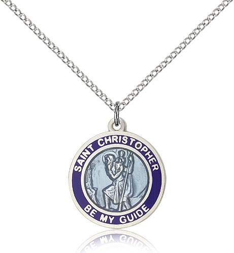 Sterling Silver 3/4in Blue St Christopher Medal & 18in Chain