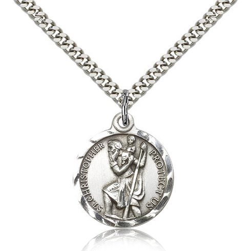 Sterling Silver 7/8in Round St Christopher Medal & 24in Chain