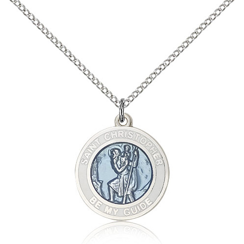 Sterling Silver 3/4in Blue and White St Christopher Medal & 18in Chain