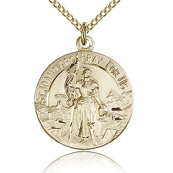 Gold Filled 7/8in St Joan of Arc Medal & 18in Chain