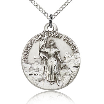 Sterling Silver 7/8in St Joan of Arc Medal & 18in Chain