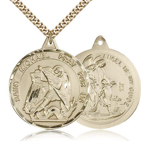 Gold Filled 1 3/8in St Michael Medal & 24in Chain
