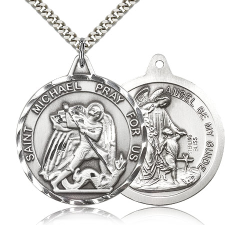 Sterling Silver 1 3/8in Round St Michael Medal & 24in Chain