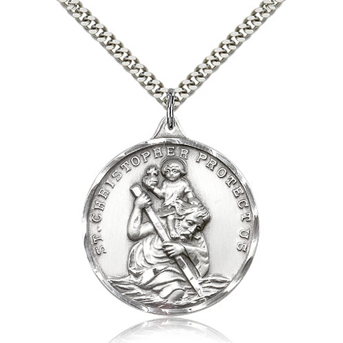 Sterling Silver 1 3/8in St Christopher Medal & 24in Chain