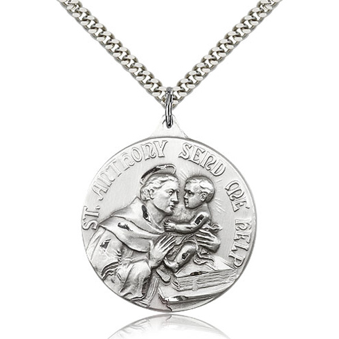 Sterling Silver 1 3/8in St Anthony Send Me Help Medal & 24in Chain
