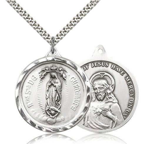 Sterling Silver 1 3/8in Our Lady of Guadalupe Medal & 24in Chain