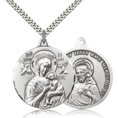 Sterling Silver 1 3/8in Lady of Perpetual Help Medal & 24in Chain