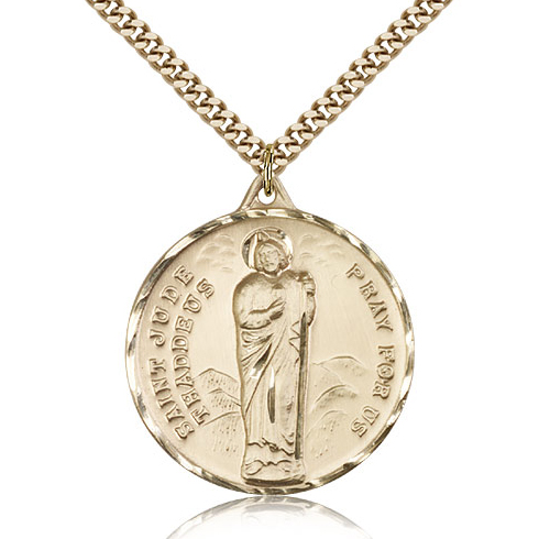 Gold Filled 1 1/4in St Jude Medal & 24in Chain