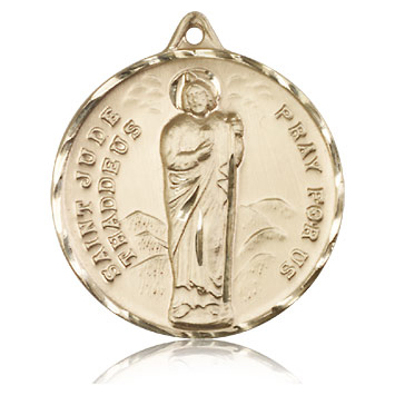 14kt Yellow Gold 1 1/4in St Jude Medal