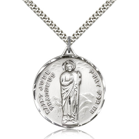 Sterling Silver 1 1/4in St Jude Medal & 24in Chain