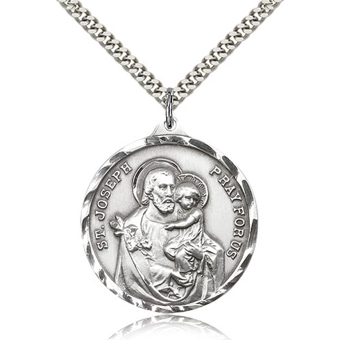 Sterling Silver 1 3/8in St Joseph Medal & 24in Chain