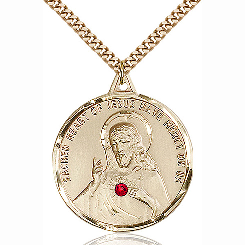 Gold Filled 1 3/8in Scapular Pendant with 3mm Ruby Bead & 24in Chain