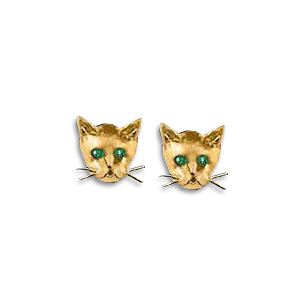 14KT Gold Kitten Face Stud Earrings