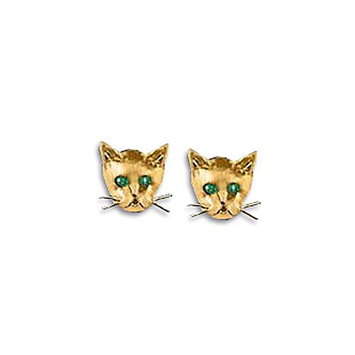 14k Yellow Gold Kitten Face Stud Earrings