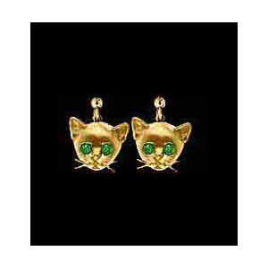 14KT Gold Cat Head Earrings with Emerald Eyes