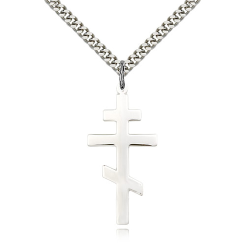 Sterling Silver 1 3/8in St Andrew Cross & 24in Chain