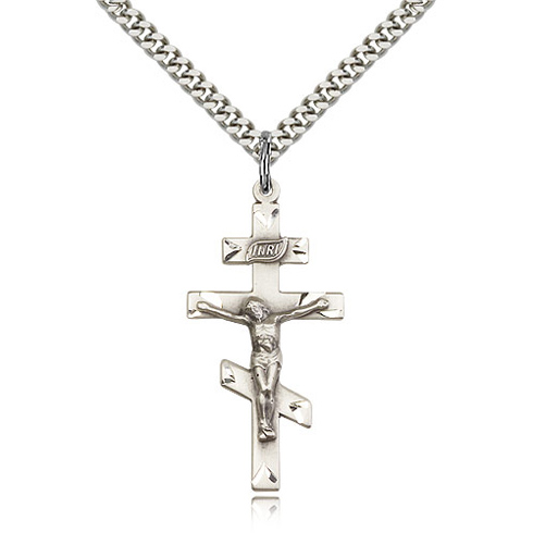 Sterling Silver 1 3/8in St Andrew Crucifix & 24in Chain