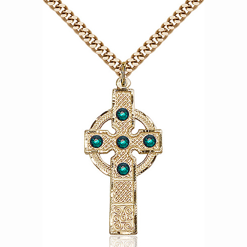 Gold Filled 1 3/8in Kilklispeen Cross Pendant with 3mm Emerald Bead & 24in Chain