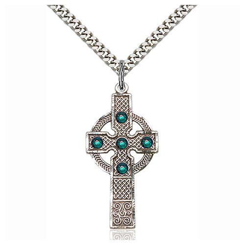 Sterling Silver 1 3/8in Kilklispeen Cross Emerald Bead & 24in Chain