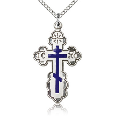 Sterling Silver 1 1/8in Blue Orthodox Cross & 18in Chain