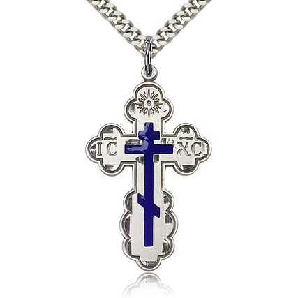 Sterling Silver 1 3/8in Blue Orthodox Cross & 24in Chain